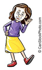 Woman in purple shirt and yellow skirt