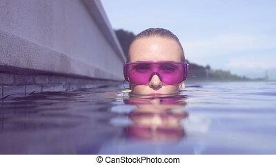 Woman in purple sunglasses in pool.
