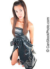 Woman in recycling dress