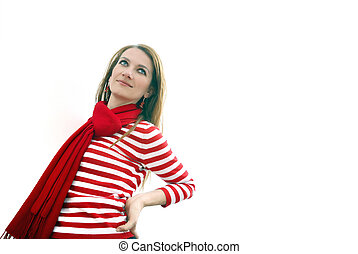 woman in red at bright office
