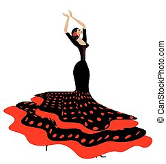 woman in red-black and flamenco