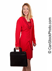 Woman in red business suit