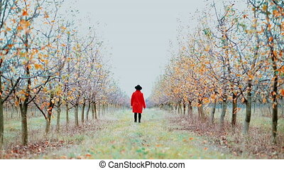 Woman in red coat and hat walking alone between trees in...