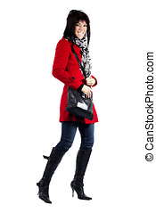 Woman in red coat excited
