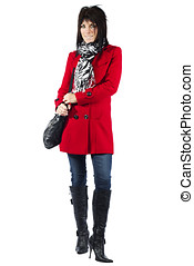 Woman in red coat