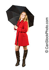Woman in red coat with umbrella