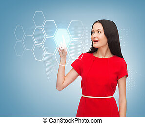 woman in red dress and virtual screen
