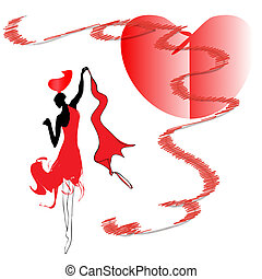 Woman in red dress dancing passionate dance