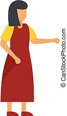 Woman in red dress icon, flat style