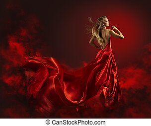 Woman in Red Dress, Lady Fantasy Gown Flying and Waving, Hair Blowing on Wind, Back Side Portrait of Beautiful Girl in Long Cloth