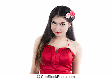 Woman in red dress on white