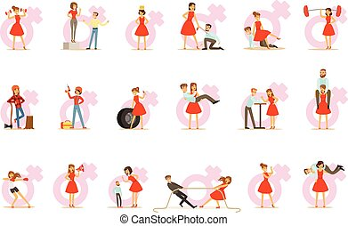 Woman In Red Dress Taking On Traditional Male Roles And Exchanging Places With Man, Series Of Feminism Illustration And Female Power