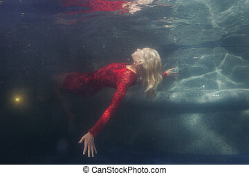 Woman in red dress under water.