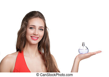 woman in red dress with perfume