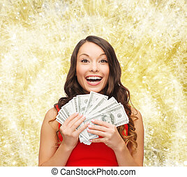 woman in red dress with us dollar money - christmas, sale,...