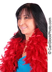 Woman in red feather shawl 2