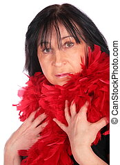 Woman in red feather shawl