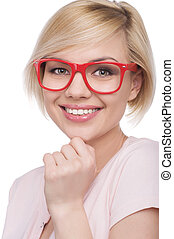 Woman in red glasses. Attractive young blond hair woman in ...