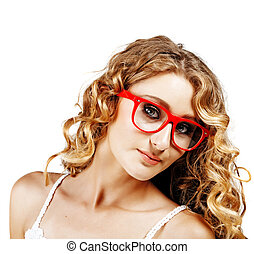 woman in red glasses .