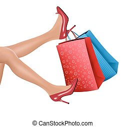 Woman in red high heels holding red shopping bags. Vector.