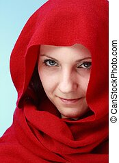 woman in red hood close up