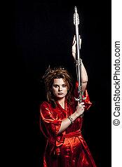 woman in red kimono