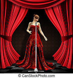 Woman in red on stage - 3d blonde woman in long red dress...