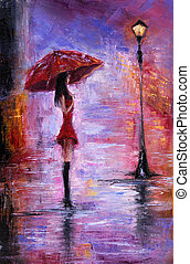 Woman in red - Original oil painting showing beautiful young...