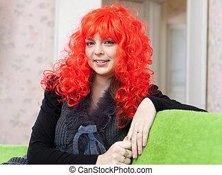 Woman in red peruke