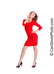 woman in red posing against white