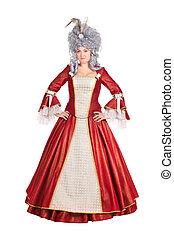 Woman in red queen dress