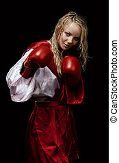 Woman in red silk bathrobe and gloves