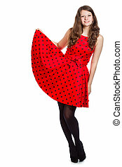 Woman in red summer dress