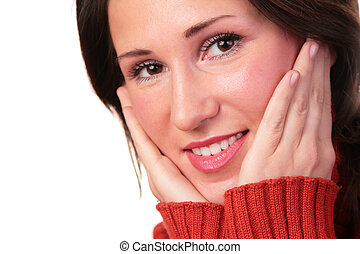 woman in red sweater