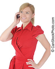woman in red with a phone