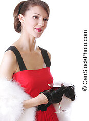 Woman in red with cocktail