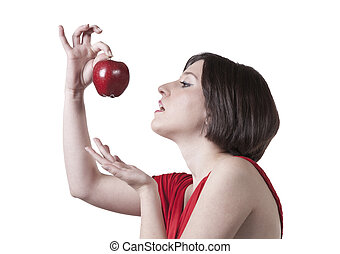 woman in red with red apple
