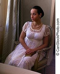 Woman in regency dress