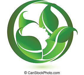 Woman in relaxation with green leafs icon logo vector