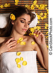 Woman in relaxing health spa
