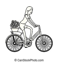 woman in retro bicycle with floral basket
