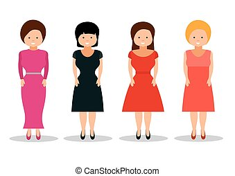 Woman in retro dresses on white background.