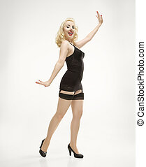 Woman in retro lingerie.