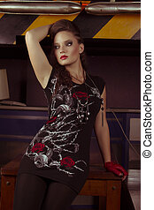 woman in rock style clothing