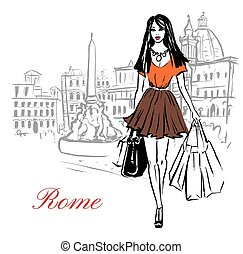Woman walking with shopping bags in Piazza Navona in Rome, Italy. Artistic hand drawn ink sketch