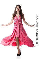 Woman in rose dress