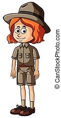 Woman in safari outfit
