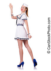 Woman in sailor suit on white background