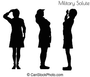 woman in salute pose on white background