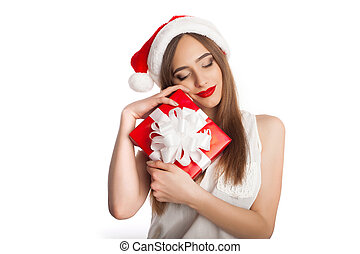 Woman in Santa Claus hat with box